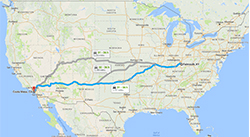 Route across States